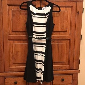 Elle Dress size 4.  Black and White with bow belt!
